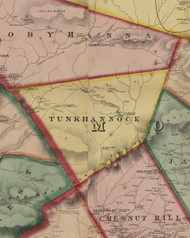 Tunkhannock Township, Pennsylvania 1860 Old Town Map Custom Print - Monroe Co.