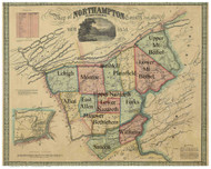Towns on Source Map - Northampton Co., Pennsylvania 1851 - NOT FOR SALE - Northampton Co.