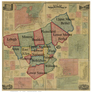 Towns on Source Map - Northampton Co., Pennsylvania 1860 - NOT FOR SALE - Northampton Co.