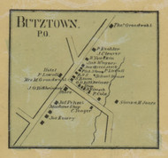 Butztown PO - Northampton Co., Pennsylvania 1860 Old Town Map Custom Print - Northampton Co.