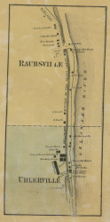 Raubsville - Northampton Co., Pennsylvania 1860 Old Town Map Custom Print - Northampton Co.