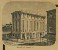 Masonic Hall - Easton Township, Pennsylvania 1860 Old Town Map Custom Print - Northampton Co.