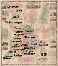 Towns on Source Map - Northumberland Co., Pennsylvania 1858 - NOT FOR SALE - Northumberland Co.