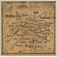Towns on Source Map - Perry Co., Pennsylvania 1863 - NOT FOR SALE - Perry Co.