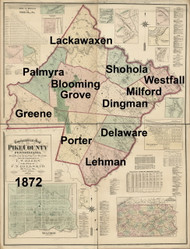 Towns on Source Map - Pike Co., Pennsylvania 1872 - NOT FOR SALE - Pike Co.