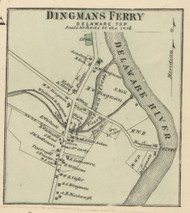 Dingmans Ferry - Delaware Township, Pennsylvania 1872 Old Town Map Custom Print - Pike Co.