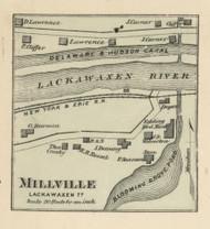 Millville - Lackawaxen Township, Pennsylvania 1872 Old Town Map Custom Print - Pike Co.