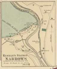 Kimble's Station Narrows - Palmyra & Lackawaxen Township, Pennsylvania 1872 Old Town Map Custom Print - Pike Co.