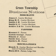 Green Business Directory - Greene Township, Pennsylvania 1872 Old Town Map Custom Print - Pike Co.