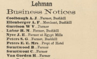 Lehman Business Directory - Lehman Township, Pennsylvania 1872 Old Town Map Custom Print - Pike Co.