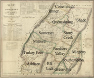 Towns on Source Map - Somerset Co., Pennsylvania 1830 - NOT FOR SALE - Somerset Co.