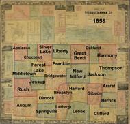 Towns on Source Map - Susquehanna Co., Pennsylvania 1858 - NOT FOR SALE - Susquehanna Co.