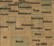 Towns on Source Map - Tioga Co., Pennsylvania 1862 - NOT FOR SALE - Tioga Co.