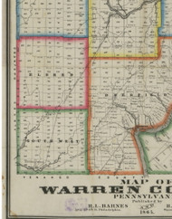 South West Township, Pennsylvania 1865 Old Town Map Custom Print - Warren Co. (Barnes)