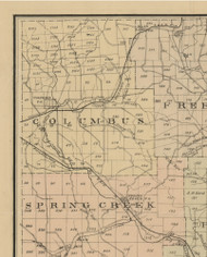 Columbus Township, Pennsylvania 1882 Old Town Map Custom Print - Warren Co.