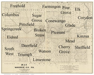Towns on Source Map - Warren Co., Pennsylvania 1889 - NOT FOR SALE - Warren Co.
