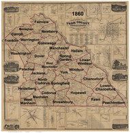 Towns on Source Map - York Co., Pennsylvania 1860 - NOT FOR SALE - York Co.