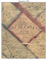 Montgomery Township, Pennsylvania 1860 Old Town Map Custom Print - Montgomery Co.