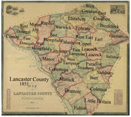 Towns on Source Map - Lancaster Co., Pennsylvania 1851 - NOT FOR SALE - Lancaster Co.