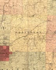 Ellington, Illinois 1889 Old Town Map Custom Print - Adams Co.