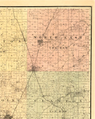 North East, Illinois 1889 Old Town Map Custom Print - Adams Co.