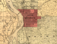 Quincy, Illinois 1889 Old Town Map Custom Print - Adams Co.