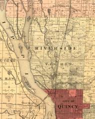 Riverside, Illinois 1889 Old Town Map Custom Print - Adams Co.