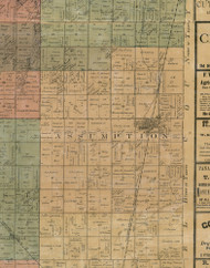 Assumption, Illinois 1872 Old Town Map Custom Print - Christian Co.