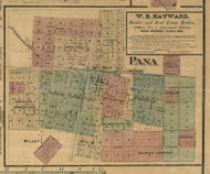 Pana Village - Christian Co., Illinois 1872 Old Town Map Custom Print - Christian Co.