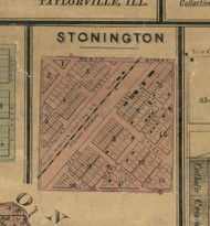 Stonington Village - Christian Co., Illinois 1872 Old Town Map Custom Print - Christian Co.