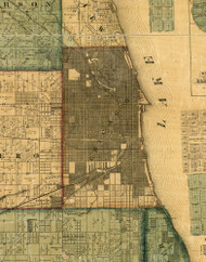 Chicago, Illinois 1861 Old Town Map Custom Print - Cook Co.