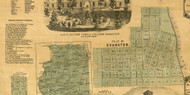 Evanston Village - Cook Co., Illinois 1861 Old Town Map Custom Print - Cook Co.