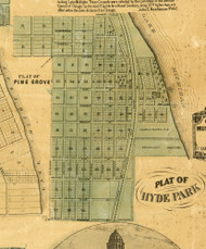 Hyde Park Village - Cook Co., Illinois 1861 Old Town Map Custom Print - Cook Co.