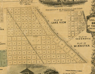 Lakeview, Cazenovia, and Winnetka - Cook Co., Illinois 1861 Old Town Map Custom Print - Cook Co.