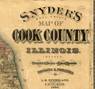 Title of Source Map - Cook Co., Illinois 1886 Old Town Map Custom Print - Cook Co.