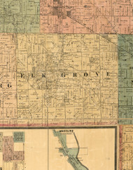 Elk Grove, Illinois 1886 Old Town Map Custom Print - Cook Co.