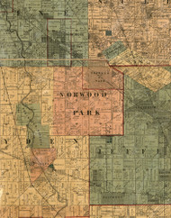 Norwood Park, Illinois 1886 Old Town Map Custom Print - Cook Co.
