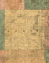 Worth, Illinois 1886 Old Town Map Custom Print - Cook Co.