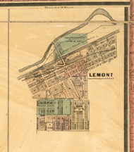 Lemont Village - Cook Co., Illinois 1886 Old Town Map Custom Print - Cook Co.