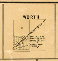 Worth Village - Cook Co., Illinois 1886 Old Town Map Custom Print - Cook Co.