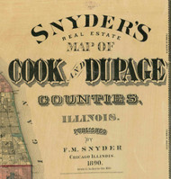 Title of Source Map - Cook & Dupage Cos., Illinois 1890 Old Town Map Custom Print - Cook Dupage Cos.