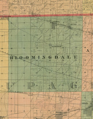 Bloomingdale, Illinois 1890 Old Town Map Custom Print - Cook Dupage Cos.