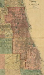 Chicago Area, Illinois 1890 Old Town Map Custom Print - Cook Dupage Cos.