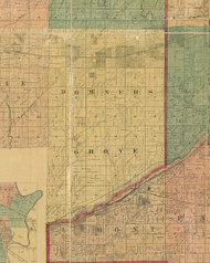 Downers Grove, Illinois 1890 Old Town Map Custom Print - Cook Dupage Cos.