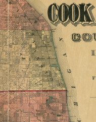 Evanston, Illinois 1890 Old Town Map Custom Print - Cook Dupage Cos.