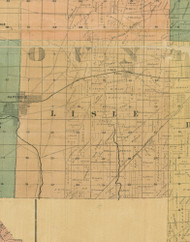 Lisle, Illinois 1890 Old Town Map Custom Print - Cook Dupage Cos.