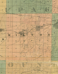 Milton, Illinois 1890 Old Town Map Custom Print - Cook Dupage Cos.