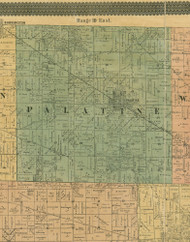 Palatine, Illinois 1890 Old Town Map Custom Print - Cook Dupage Cos.