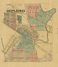Des Plaines - Cook Co., Illinois 1890 Old Town Map Custom Print - Cook Dupage Cos.