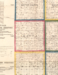 Malta, Illinois 1860 Old Town Map Custom Print - DeKalb Co.